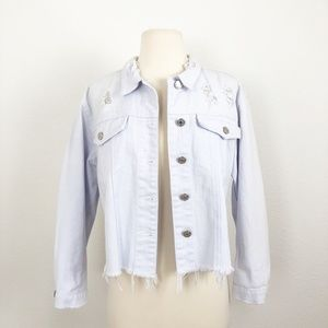 LF Distressed Graphic Jean Jacket Size S